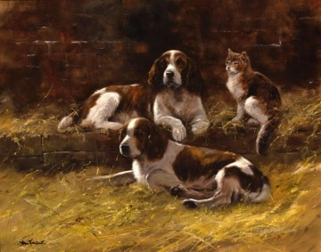 Dog Painting - Springer Spaniels and a cat puppy