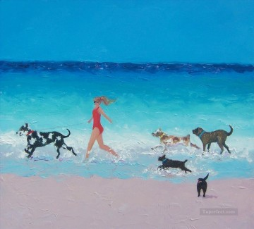 Dog Painting - girl and dogs running on beach