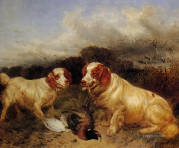 dogs playing poker Painting - hunt dogs and mallard