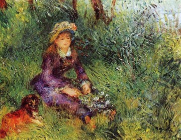 Dog Painting - madame with a dog Pierre Auguste Renoir