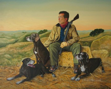 Dog Painting - mike schultz morning hunt puppy