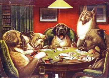 Dog Painting - Animal acting human Dogs playing cards