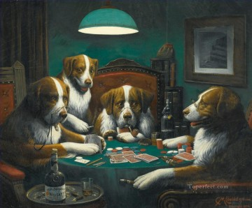 Dogs Playing Poker Game Cassius Marcellus Coolidge Oil Paintings