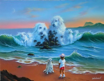 dogs playing poker Painting - JW dogs in sea