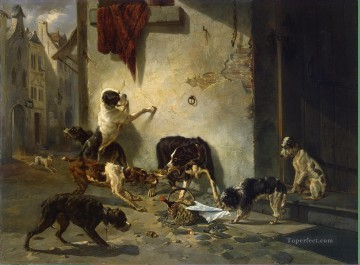 Stevens Joseph Dog Carrying Dinner to its Master Oil Paintings