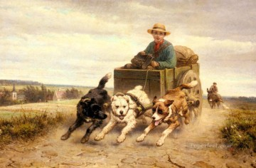 The Dog Cart animal Henriette Ronner Knip Oil Paintings