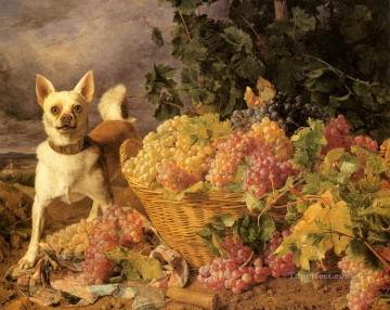 Dog Painting - Waldmuller Ferdinand Georg A Dog By A basket Of Grapes In A Landscape