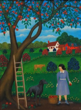 Dog Painting - cartoon dogs and woman at farm
