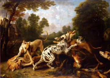 Dog Painting - dogs fighting
