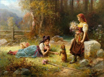 girls playing with a dog Hans Zatzka animal puppy Oil Paintings