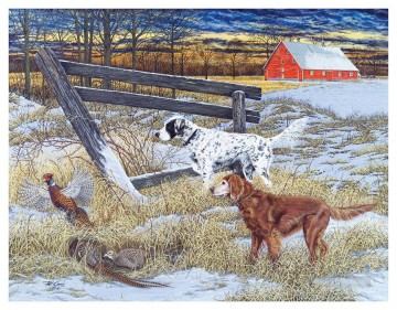 Dog Painting - hounds and mallard in winter puppy