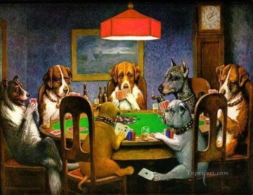 dogs playing poker Painting - A Friend in Need Dogs Playing Poker Cassius Marcellus Coolidge