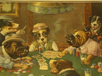 dog dogs Painting - Dogs Playing Poker Cigar