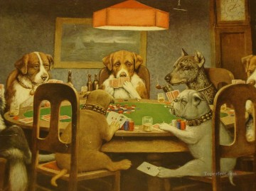Playing Painting - dogs playing poker 4