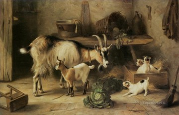 Dog Painting - goat and puppy puppy
