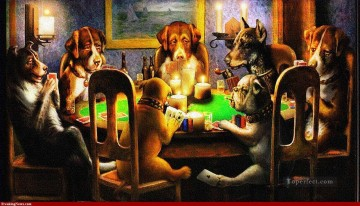 dogs playing poker dark Oil Paintings