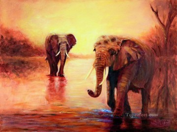 African Oil Painting - african elephants at sunset in the serengeti sher nasser