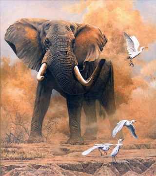 Animal Painting - dusty elephant with egrets