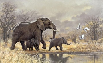 elephant matriarch and calves Oil Paintings