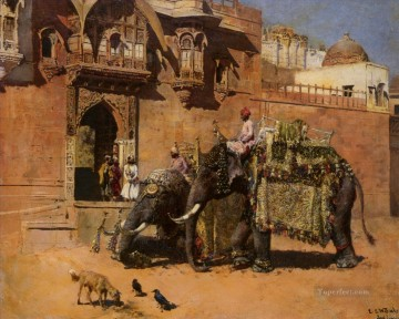 Elephant Painting - edwin lord weeks elephants at the palace of jodhpore