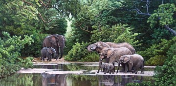 Elephant Painting - elephant herd at secluded river