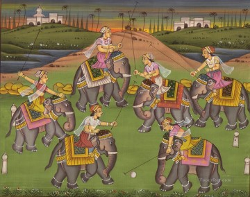 women Painting - Indian women on elephant playing ball