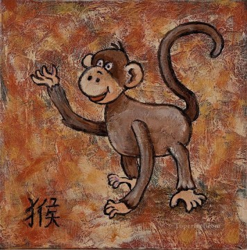 Chinese year of the monkey facetious humor pet Oil Paintings