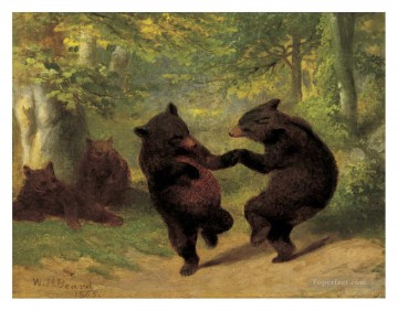 Animal Painting - Dancing Bears William Holbrook Beard facetious humor pet