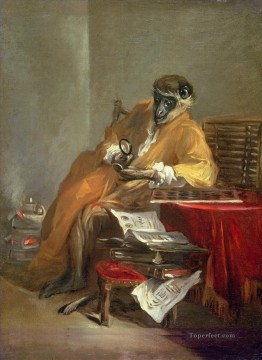 Jean Sim on Chardin The Monkey Antiquarian facetious humor pet Oil Paintings