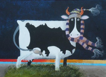 Jersey Cow facetious humor pet Oil Paintings