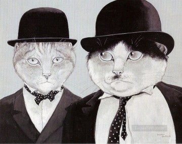 Animal Painting - cats in suits facetious humor pet