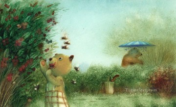 Animal Painting - fairy tales bears bear stealing honey facetious humor pet