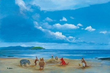 Animal Painting - Pooh and Friends at the Seaside facetious humor pets