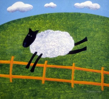 pets Painting - Sheep on the Lam facetious humor pets