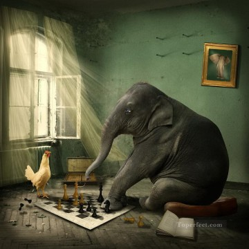 facetious Art Painting - elephant chess ethiriel hen facetious humor pet
