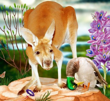 facetious Art Painting - kangaroo and Anas platyrhynchos facetious humor pets