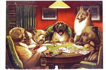 Animal Painting - Animal acting human Dogs playing cards facetious humor pets
