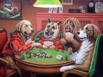 Dogs Playing Poker 3 facetious humor pets Oil Paintings