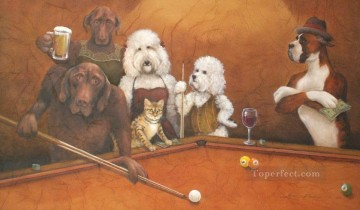 cat dogs playing pool facetious humor pets Oil Paintings