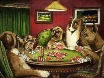 Animal Painting - dogs playing poker facetious humor pets