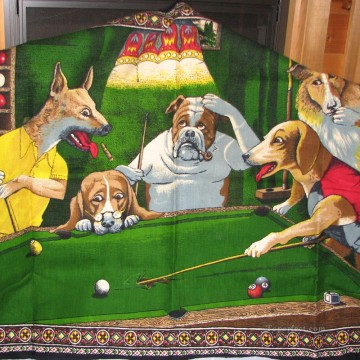 dogs playing pool 2 facetious humor pets Oil Paintings