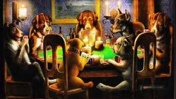 facetious Deco Art - dogs playing poker facetious humor pets