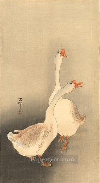Animal Painting - two white geese Ohara Koson fowl
