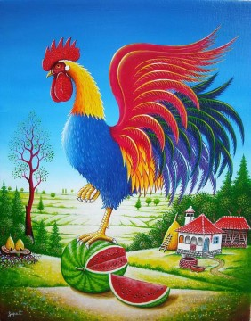 Animal Painting - cartoon cock and village