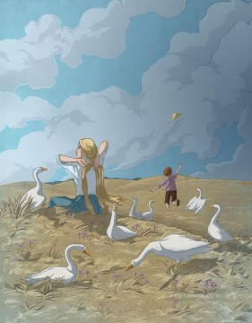 kids painting - cartoon girl and geese kids