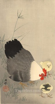 Animal Painting - hen and two chicks in grass Ohara Koson fowl