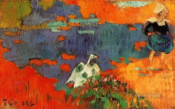 Animal Painting - paul gauguin breton woman and goose by the water 1888