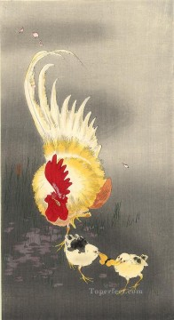 Animal Painting - rooster and chicks Ohara Koson fowl