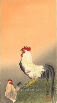 Animal Painting - rooster and hen at sunrise Ohara Koson fowl