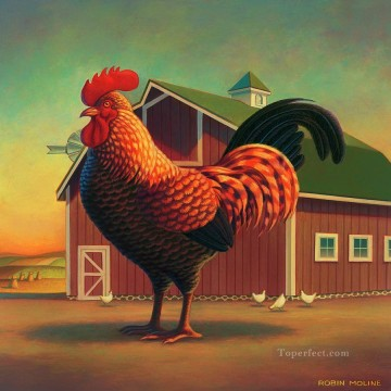 Animal Painting - rooster and the barn